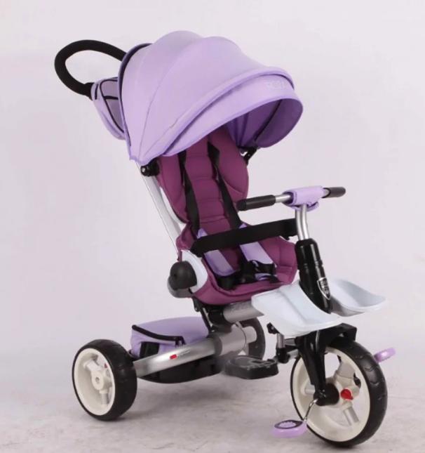 Дитячий триколісний велосипед-коляска складаний Crosser MODI T 600 ROSA фіолетовий