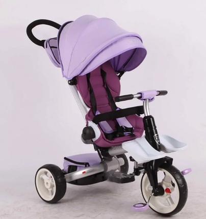 Дитячий триколісний велосипед-коляска складаний Crosser MODI T 600 ROSA фіолетовий, фото 2