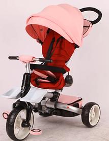 Детский трехколесный велосипед-коляска складной Crosser MODI T 600 ROSA розовый