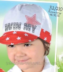 Детская летняя кепка для девочки Win my красная (р. 52)(AJS, Польша)