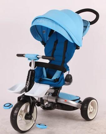 Дитячий триколісний велосипед-коляска складаний Crosser MODI T 600 ROSA блакитний, фото 2