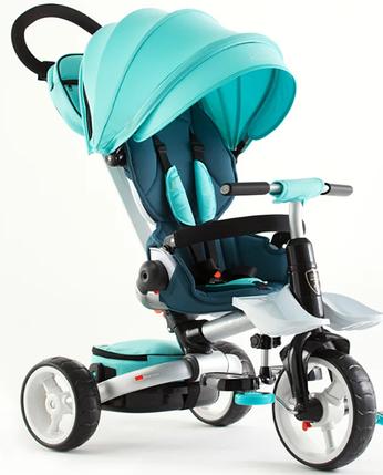 Дитячий триколісний велосипед-коляска складаний Crosser MODI T 600 ROSA бірюзовий, фото 2