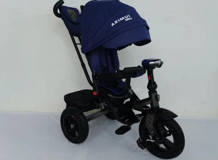 Детский трехколесный велосипед-коляска T 400 AZIMUТ NEO синий