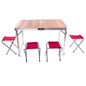 Стол бамбуковый складной+ 4 стула 120*70*70