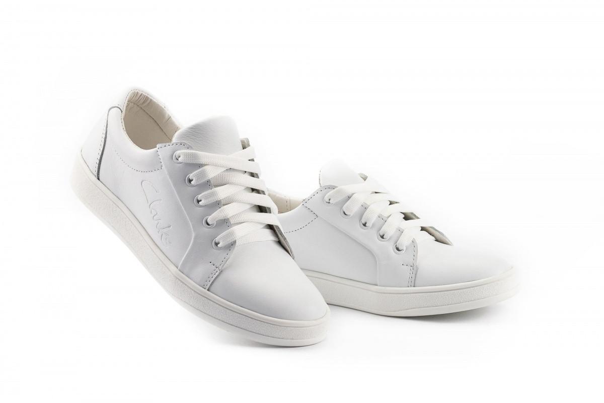 Женские кожаные белые кеды Clarks Артикул 590SA-W1 р. 32 37 40 41