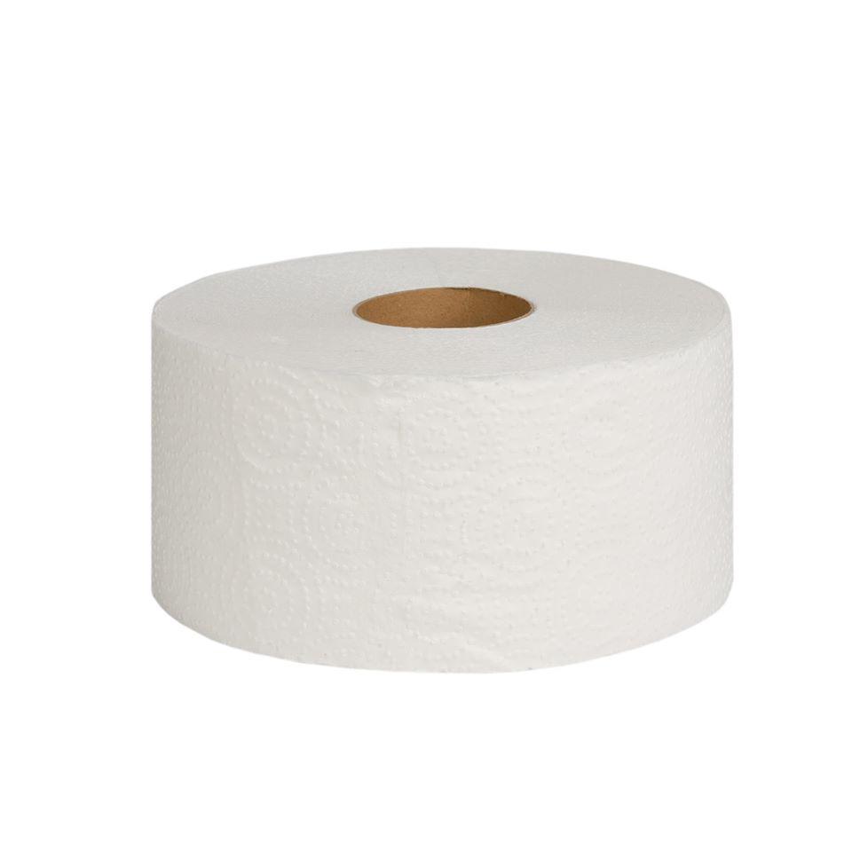 Туалетная бумага Джамбо однослойная (серая) с перфорацией, 100 м в рулоне, высота рулона 9,0 см.