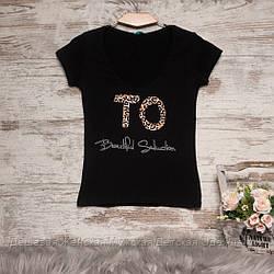 0122-02 черная MMC футболка женская с принтом стрейчевая (S-3,M, 4 ед.)
