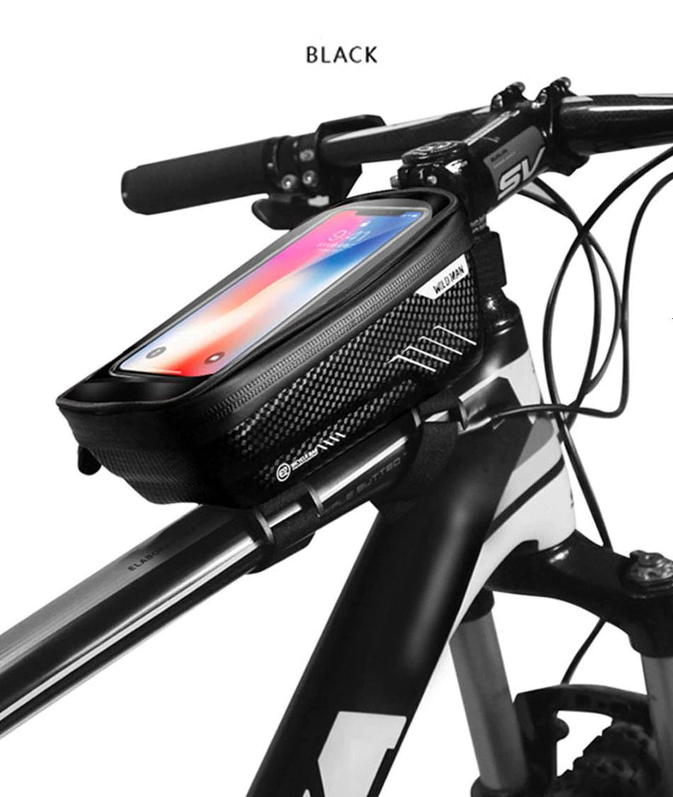 Велосумка на раму с отделом для смартфона черная