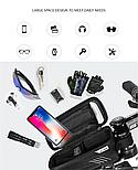 Велосумка на раму с отделом для смартфона черная, фото 4