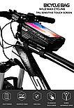 Велосумка на раму с отделом для смартфона черная, фото 5