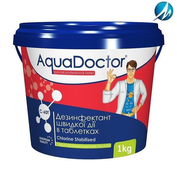 Дезинфектант на основе хлора быстрого действия AquaDoctor C-60T, 1 кг