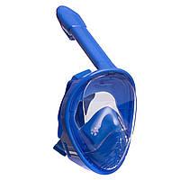 Маска для снорклинга с дыханием через нос детская PL-1294 (силикон, пластик, р-р XS-6-12лет, голубой-белый)