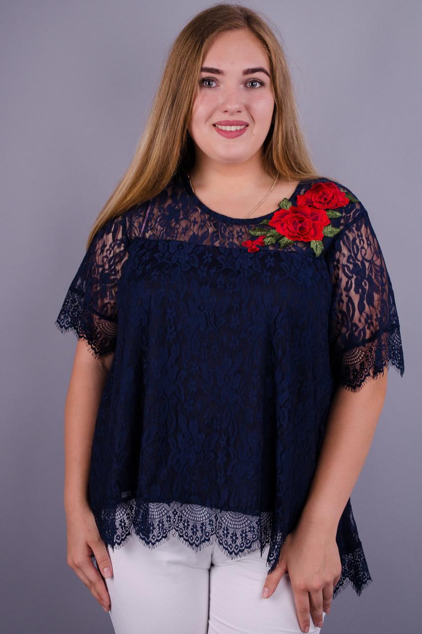Квітка Троянда. Блуза з гіпюру plus size. Синій.