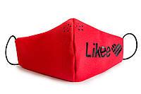 Защитная маска на лицо Likee лайк подростковая со съемным фильтром (комплект маска + 10 фильтров) красная