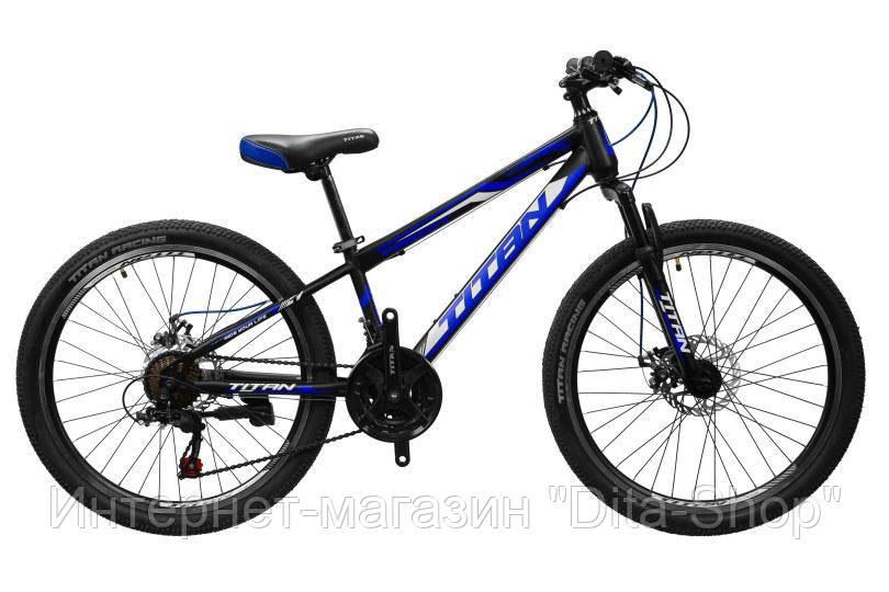 """Горный велосипед с Дисковыми Тормозами,21 скорость, Стальная вилка 24"""" Forest Рама-12"""" black-blue-white"""