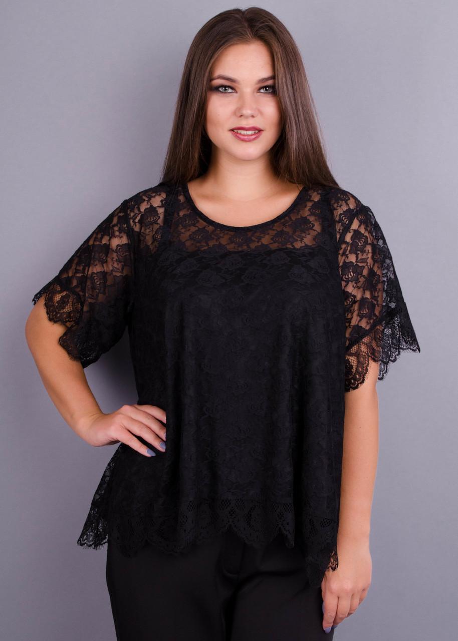 Квітка. Гіпюрова блузка великих розмірів. Чорний.