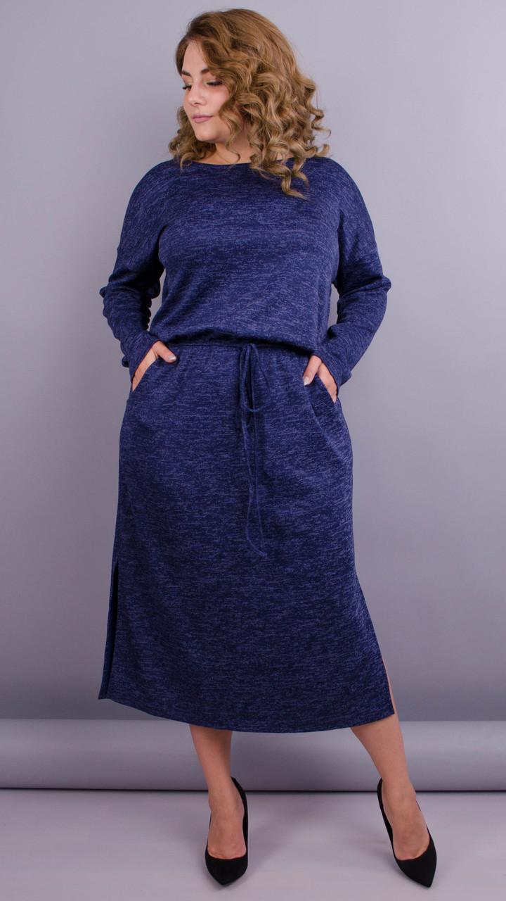 Леся. Оригінальне плаття для пишних дам. Синій.