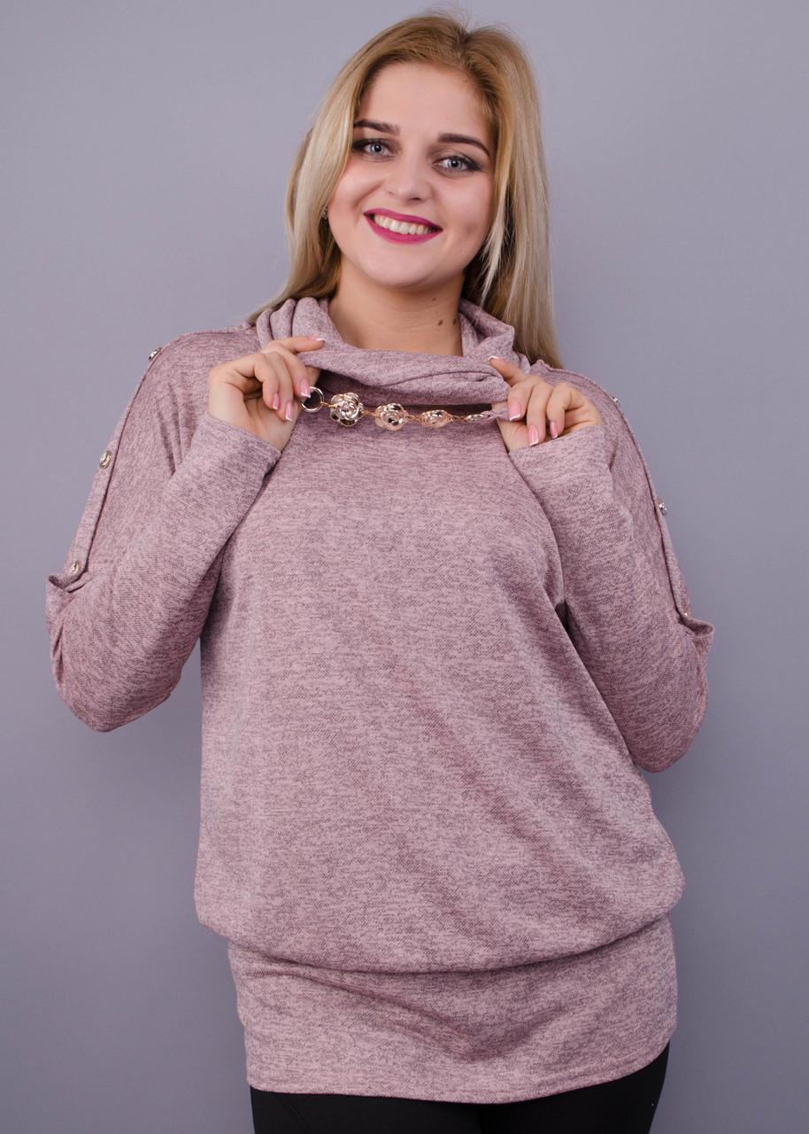Муза. Кофточка з шарфом для жінок плюс-сайз. Пудра.
