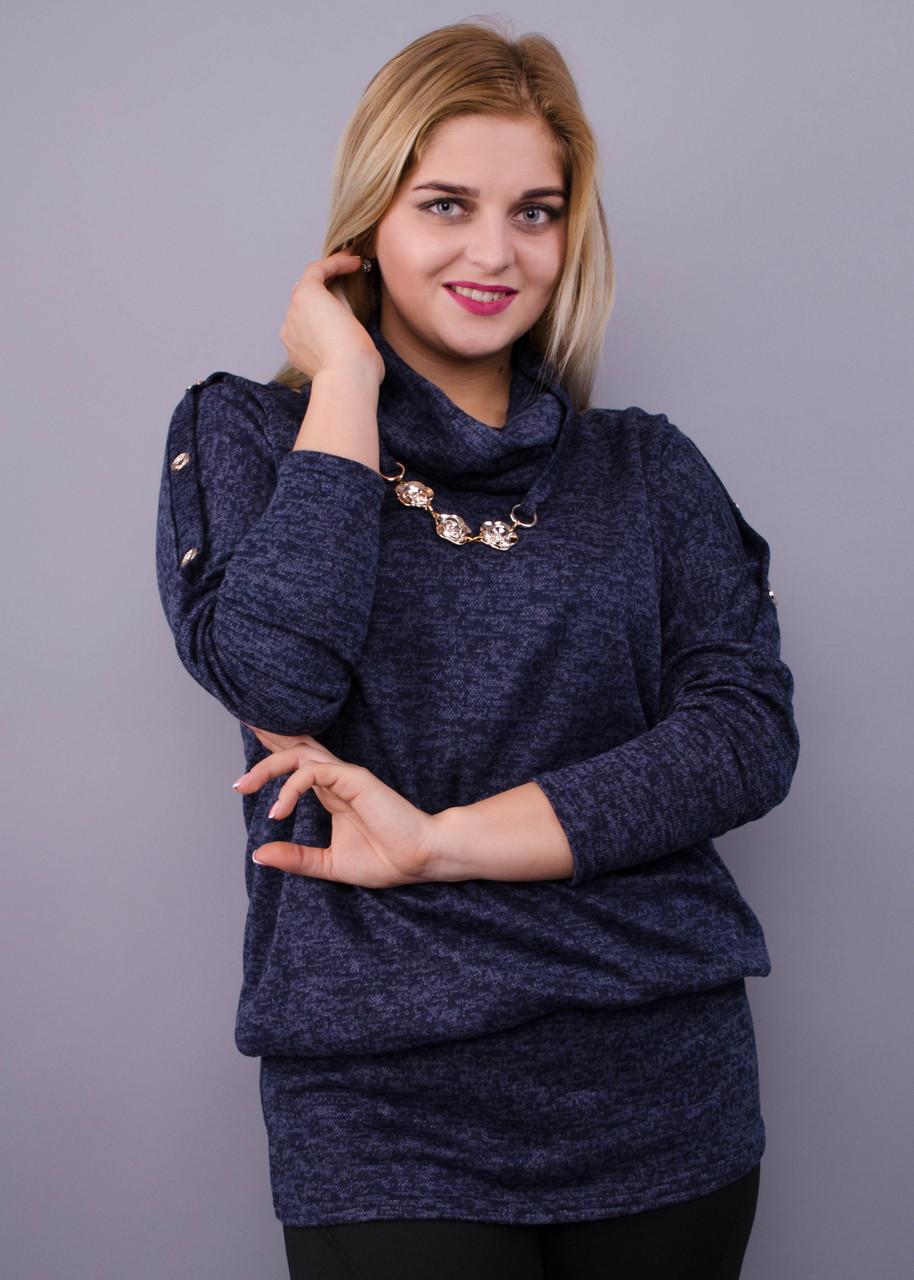 Муза. Кофточка з шарфом для жінок плюс-сайз. Синій.