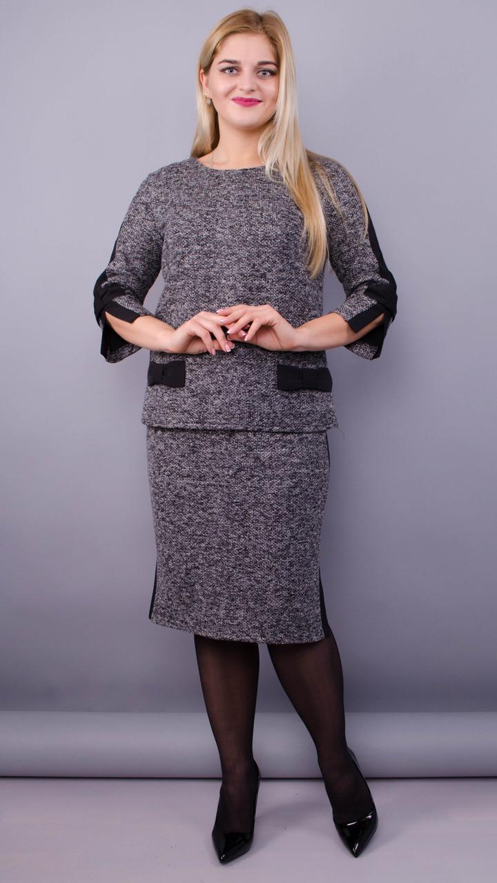 Богема. Жіночий костюм двійка великих розмірів. Сірий.