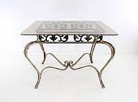 Стол прямоугольный  стекло кованый. 03., фото 1