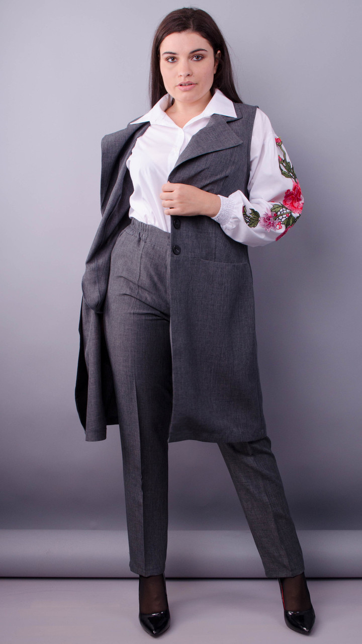 Класик. Стильний офісний костюм двійка plus size. Сірий.