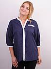 Аврора. Комбінована блуза великих розмірів. Синій+горошки., фото 2