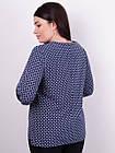 Леона принт. Стильная блуза больших размеров. Синий., фото 5