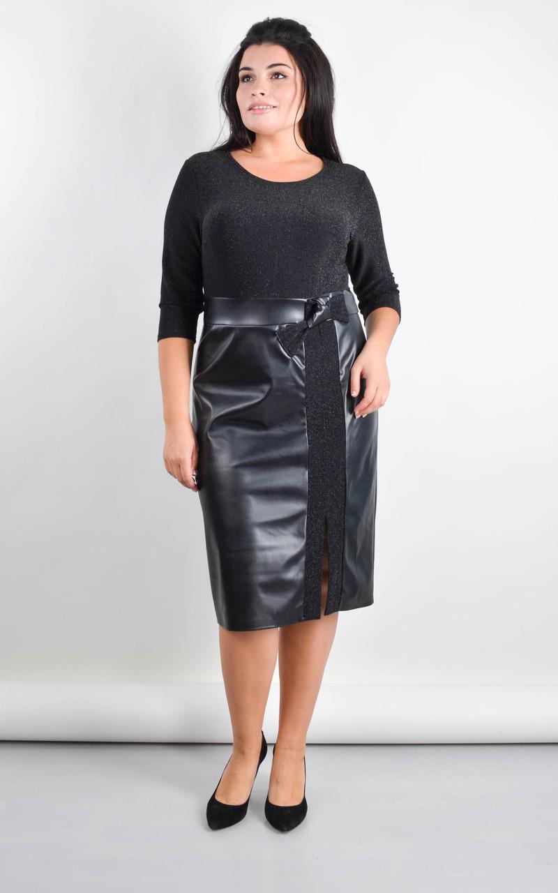 Лідія. Плаття великого розміру для свята. Чорний.