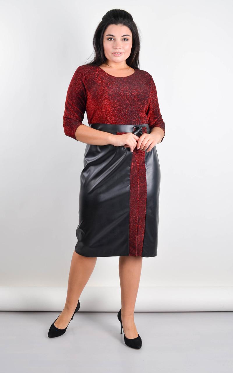 Лідія. Плаття плюс сайз для свята. Червоний.