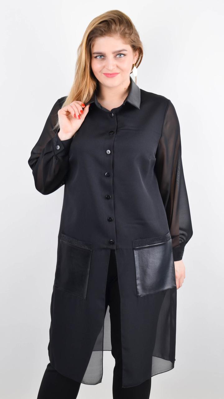 Кензо. Удлиненный блузон женский большого размера. Черный.