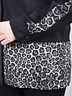 Габриэла. Комбинированная блуза большого размера. Леопард серый., фото 6