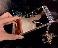 Чехол силиконовый зеркальный золотой с камнями  для Iphone 5/5S/5SE