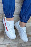 Кроссовки женские белые с красным AAA 3803-1, фото 1