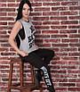 Женский спортивный костюм тройка для фитнеса, размер 42-44, 46-48, эластик, вискоза, черный, серый, фото 4