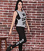 Женский спортивный костюм тройка для фитнеса, размер 42-44, 46-48, эластик, вискоза, черный, серый, фото 2