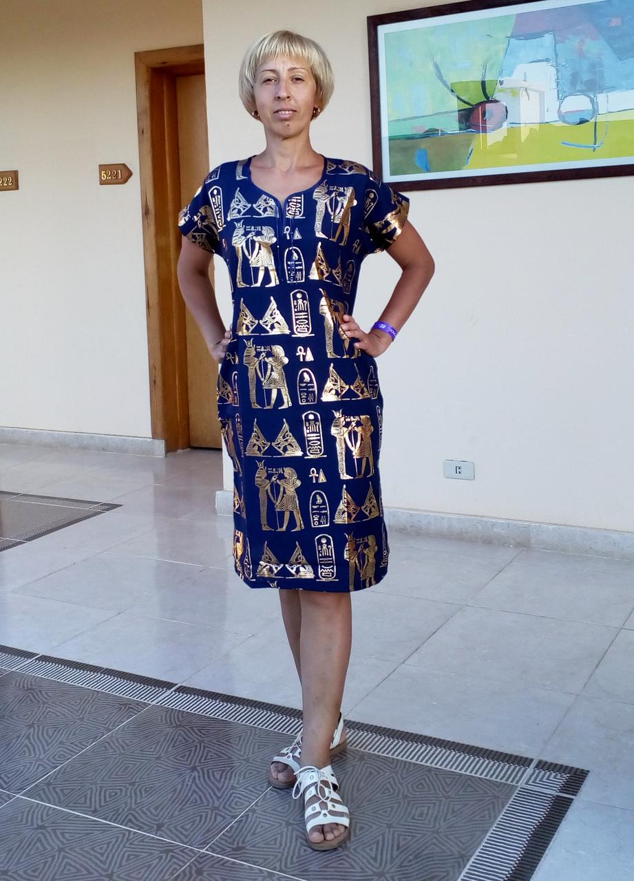 Туника с принтом Египет темно-синяя (48 размер размер L ) feer