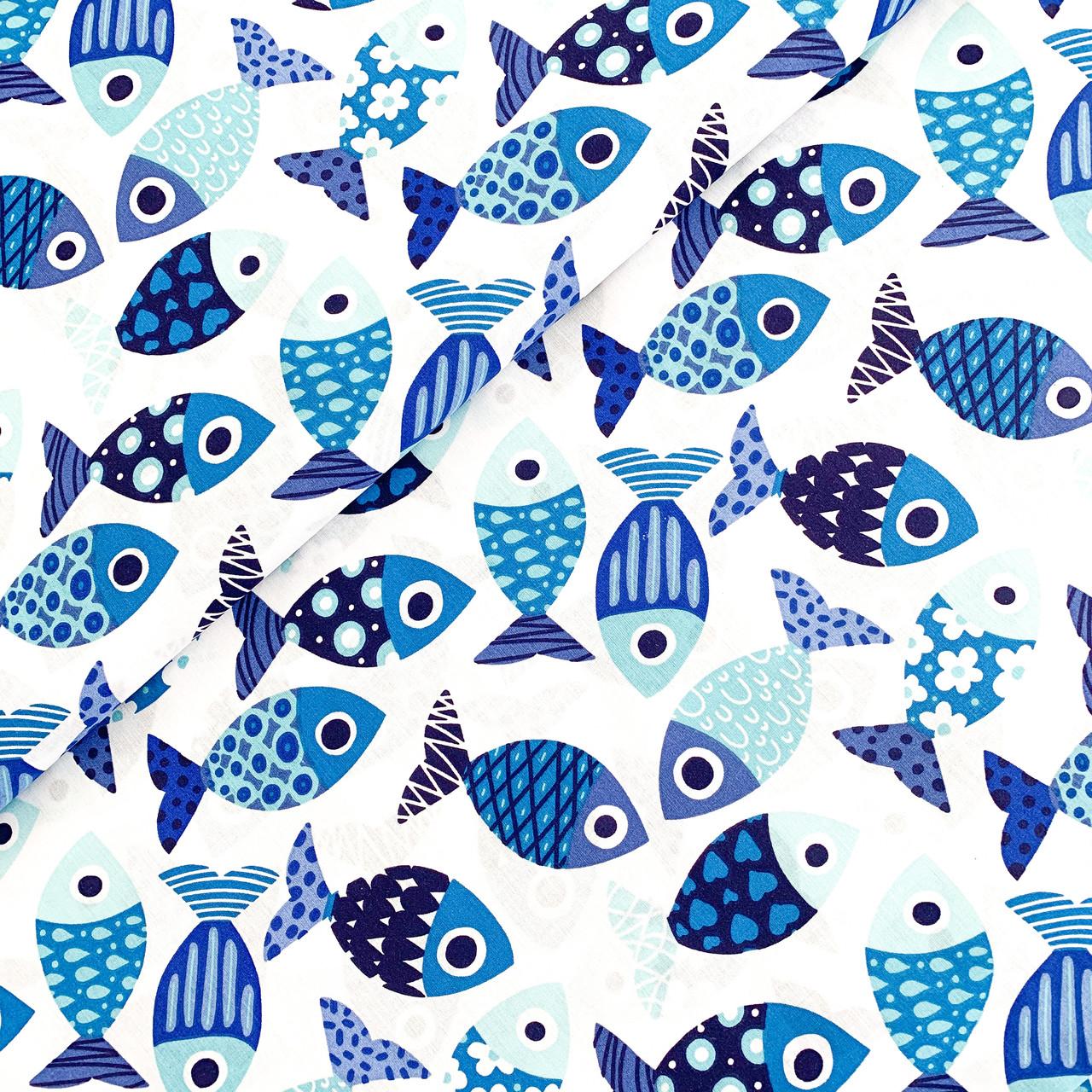 """Польская хлопковая ткань """"Рыбки сине-голубые"""""""