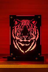 Декоративный настольный ночник Тигр, теневой светильник, несколько подсветок (батарейка+220В)