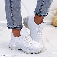 Женские кроссовки белые эко-кожа, фото 1