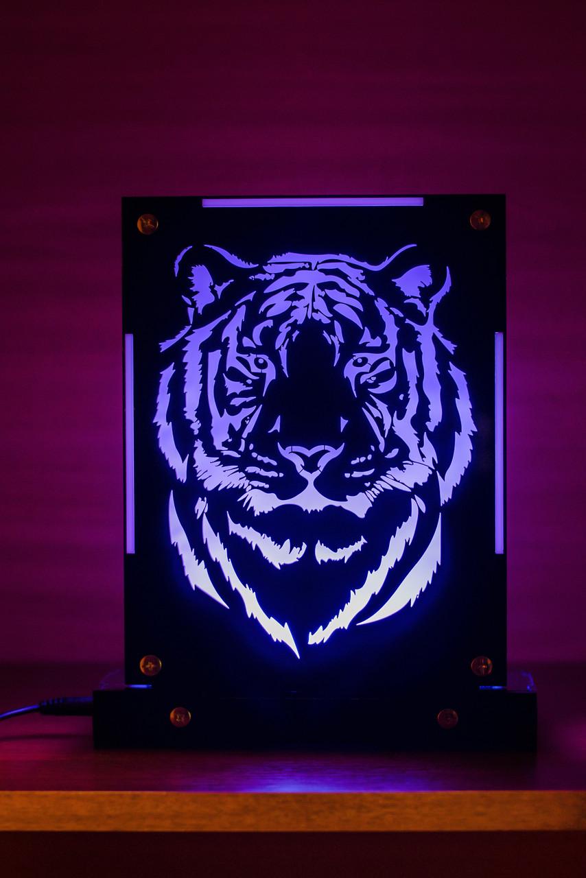 Декоративный настольный ночник Тигр, теневой светильник, несколько подсветок (на пульте)