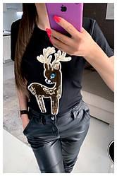Женская черная футболка с аппликацией  Люкс Качество (Фабричный Китай)