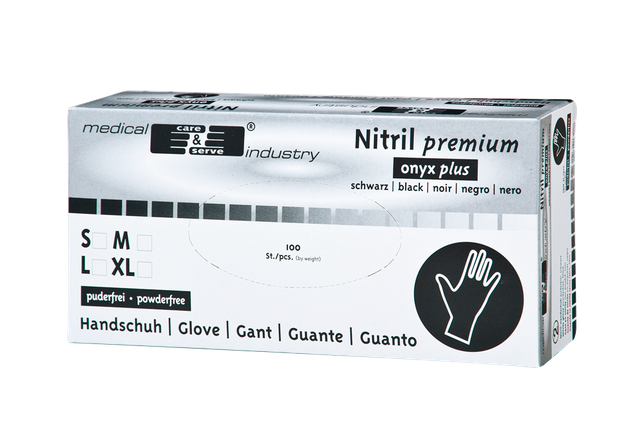 Нитриловые перчатки - Nitril Premium medical car & serve industry L черные (100 шт.), фото 2