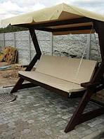Качеля садовая раскладная диван деревянная с навесом Kronos Lux Темно-коричневый (krs_007)