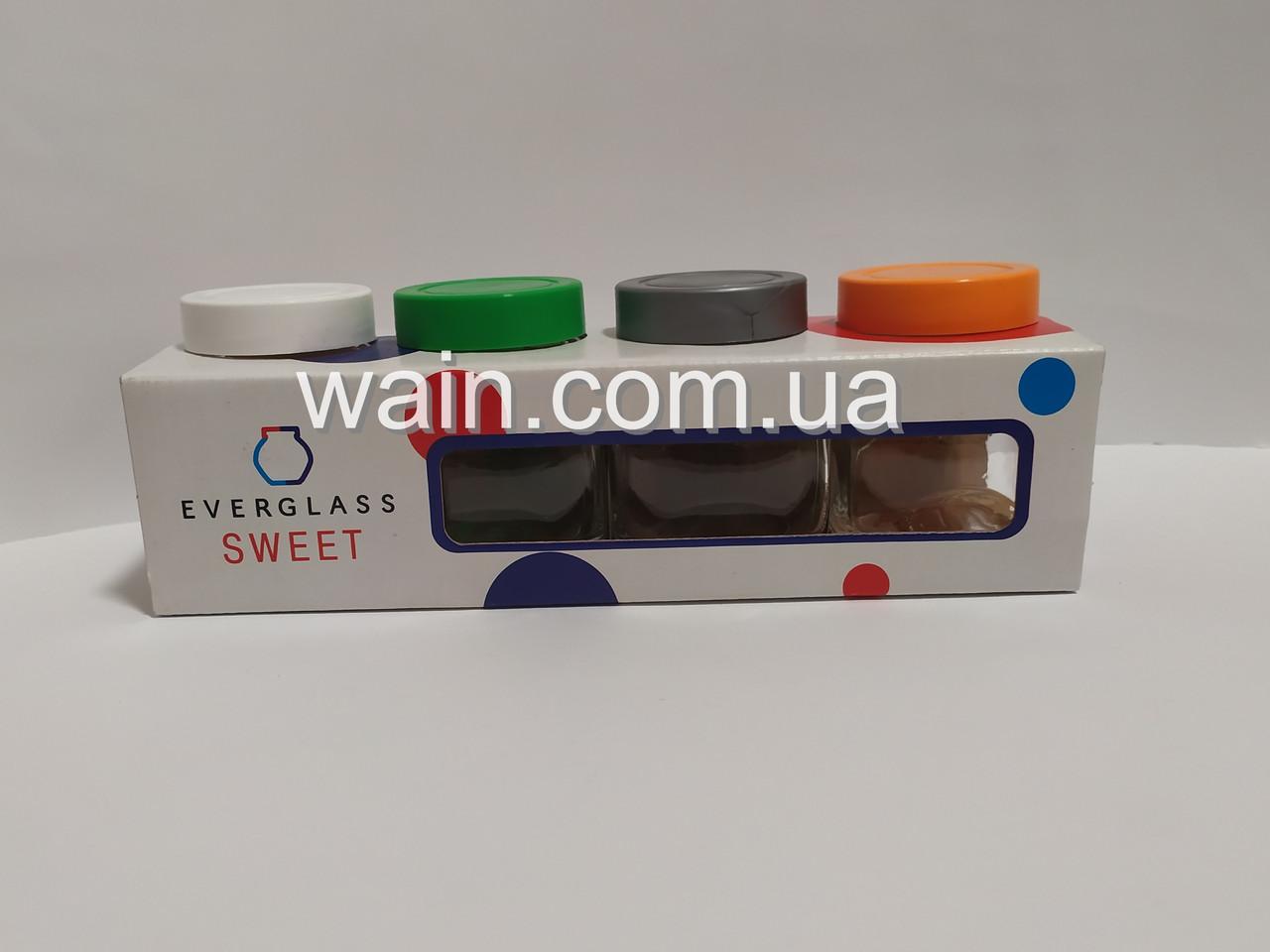 Набор стеклянных банок емкостей 200 мл 4 шт с пластиковыми крышками разных цветов Everglass SWEET