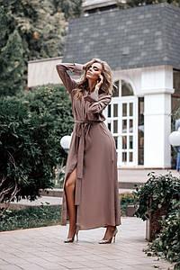 Женское длинное платье-рубашка с поясом 42-46 р