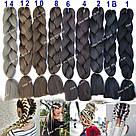 🖤 Канекалон Однотонный, пряди цветные искуссвенных волос для кос, черный 🖤, фото 10