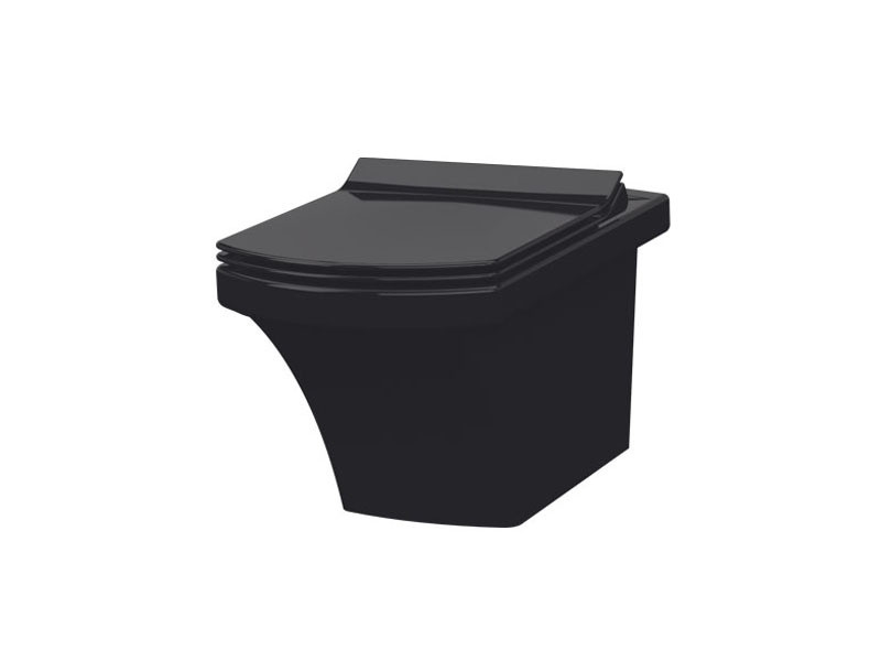 Чаша подвесного унитаза черная с сиденьем Ultra Slim Soft Close IDEVIT Vega SETK2804-0606-071-1-6000