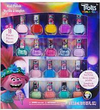 Детский лак для ногтей Тролли 18 штук смываются водой на водной основе TownleyGirl Dreamworks Trolls