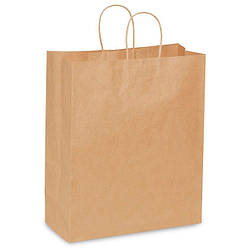 Пакет бумажный бурый 380*320*150 с ручкой